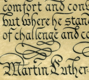calligraphy detail MLK quote