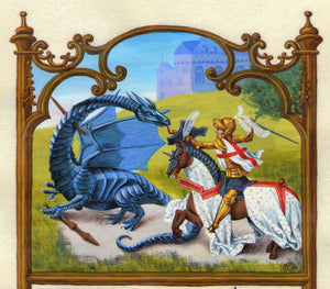 detail St. George and Dragon in painted frame