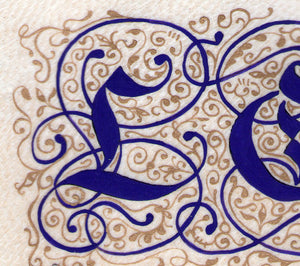 art print detail illuminated letters