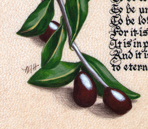 art print detail olives
