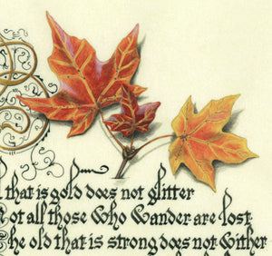 calligraphy print detail with leaves