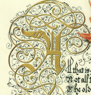 calligraphy print illuminated letter