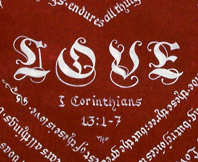 detail Corinthians print love and citation