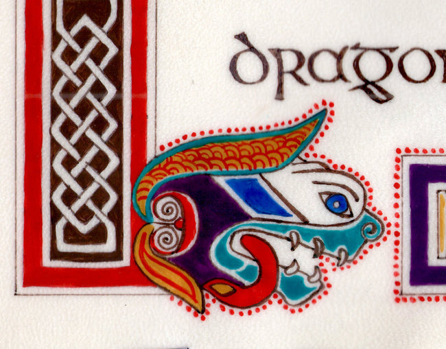 detail Celtic monster face dragon