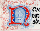 illuminated initial detail with rapier calligraphy