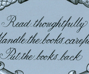 library rules copperplate lettering print detail