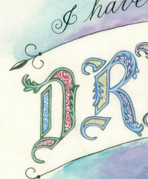 close detail dreams white line work calligraphy