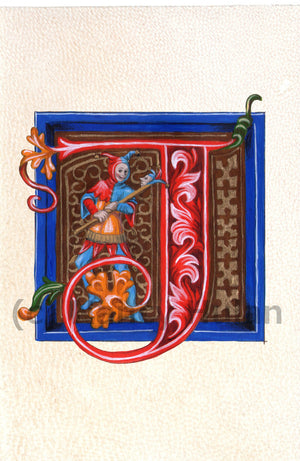 Calligraphy print initial letter J is for jester