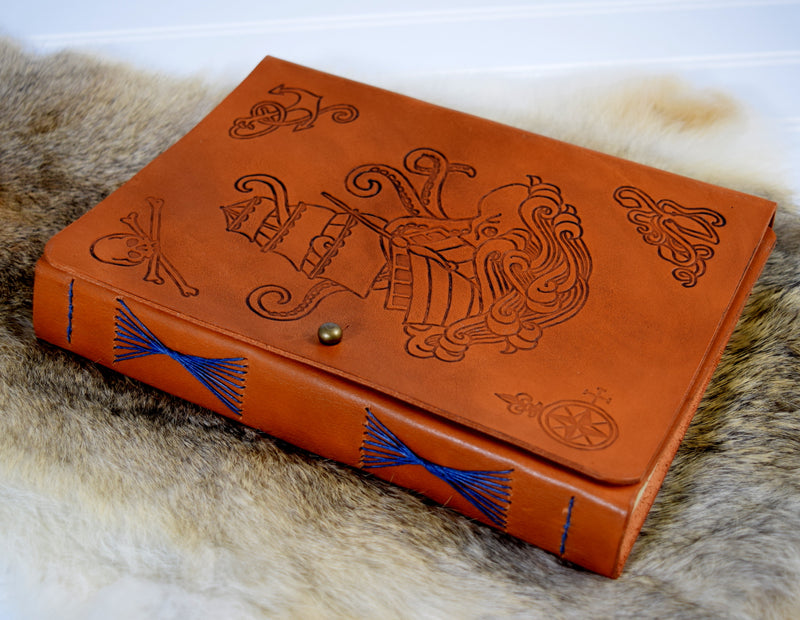 Pirate ship leather journal with octopus front cover