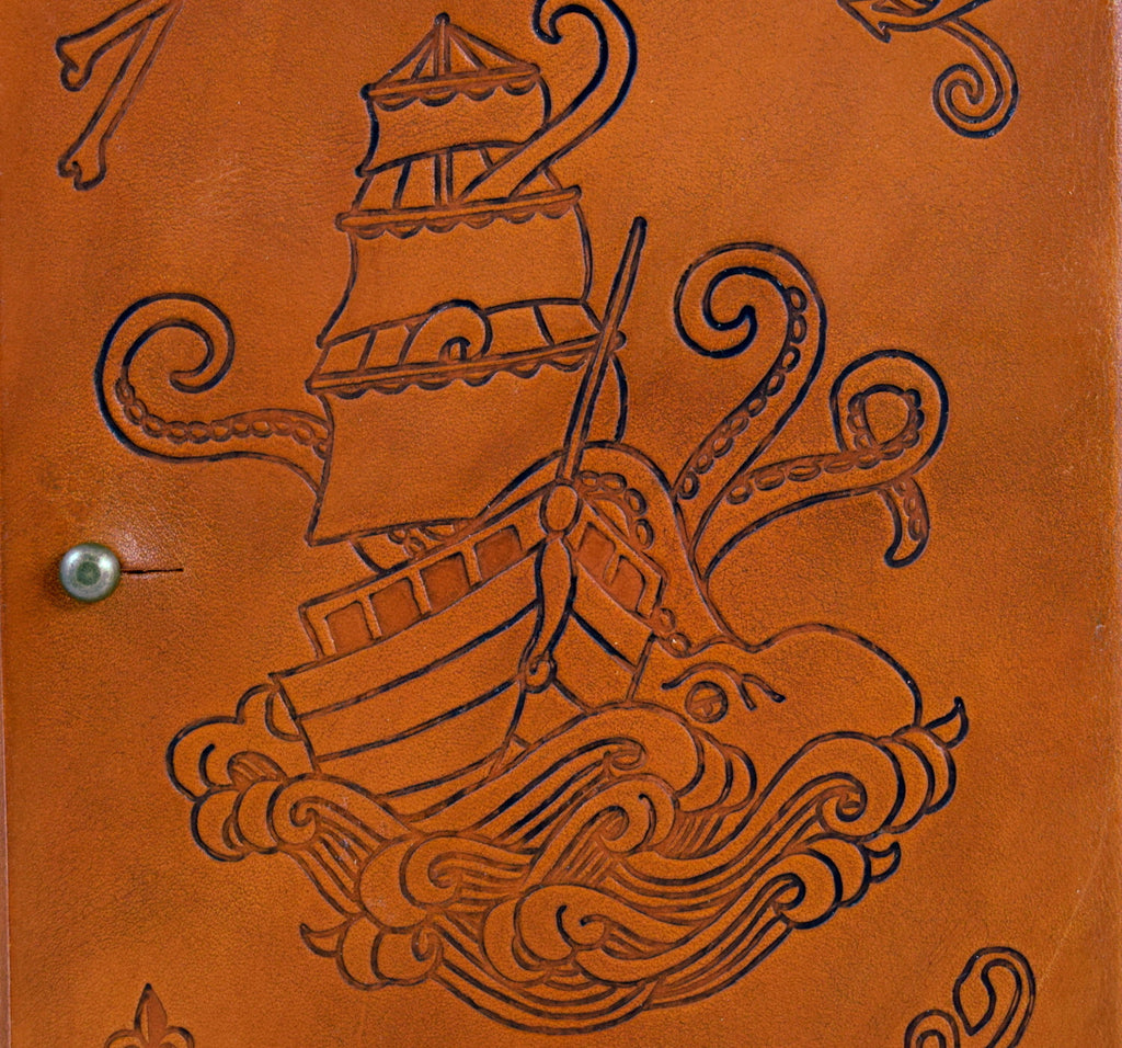 Enlargement of sailing ship design on front cover
