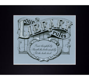 library rules typography art print