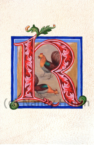 Calligraphy print initial letter R is for rooster