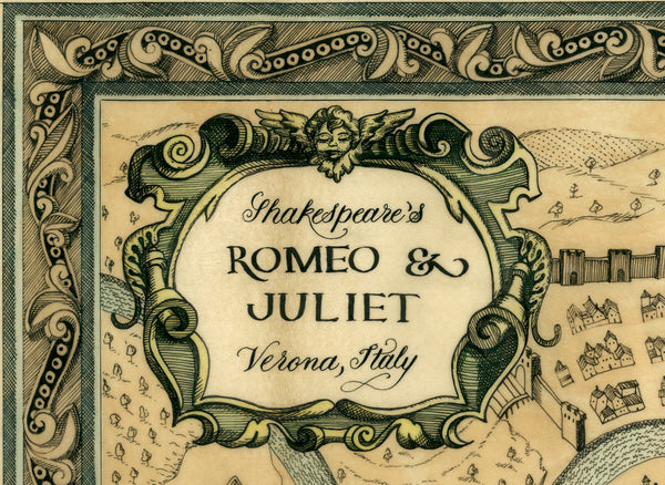 Map of Shakespeare's Romeo and Juliet Fine Art Print