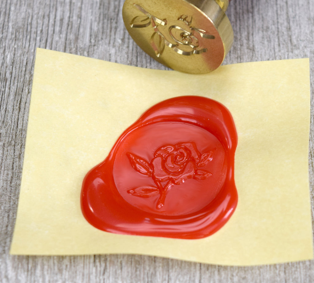 Rose Bud Brass Seal Stamp with Optional Handle