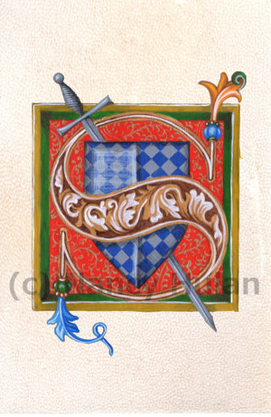 Calligraphy print initial letter S is for sword