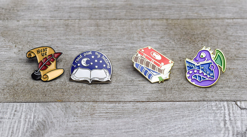 Set of 4 Enamel Pins for Book Lovers
