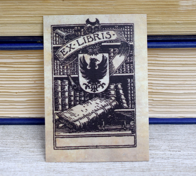 Ex Libris Book Plates with Heraldic Shield: Set of 24 Self-Adhesive Labels