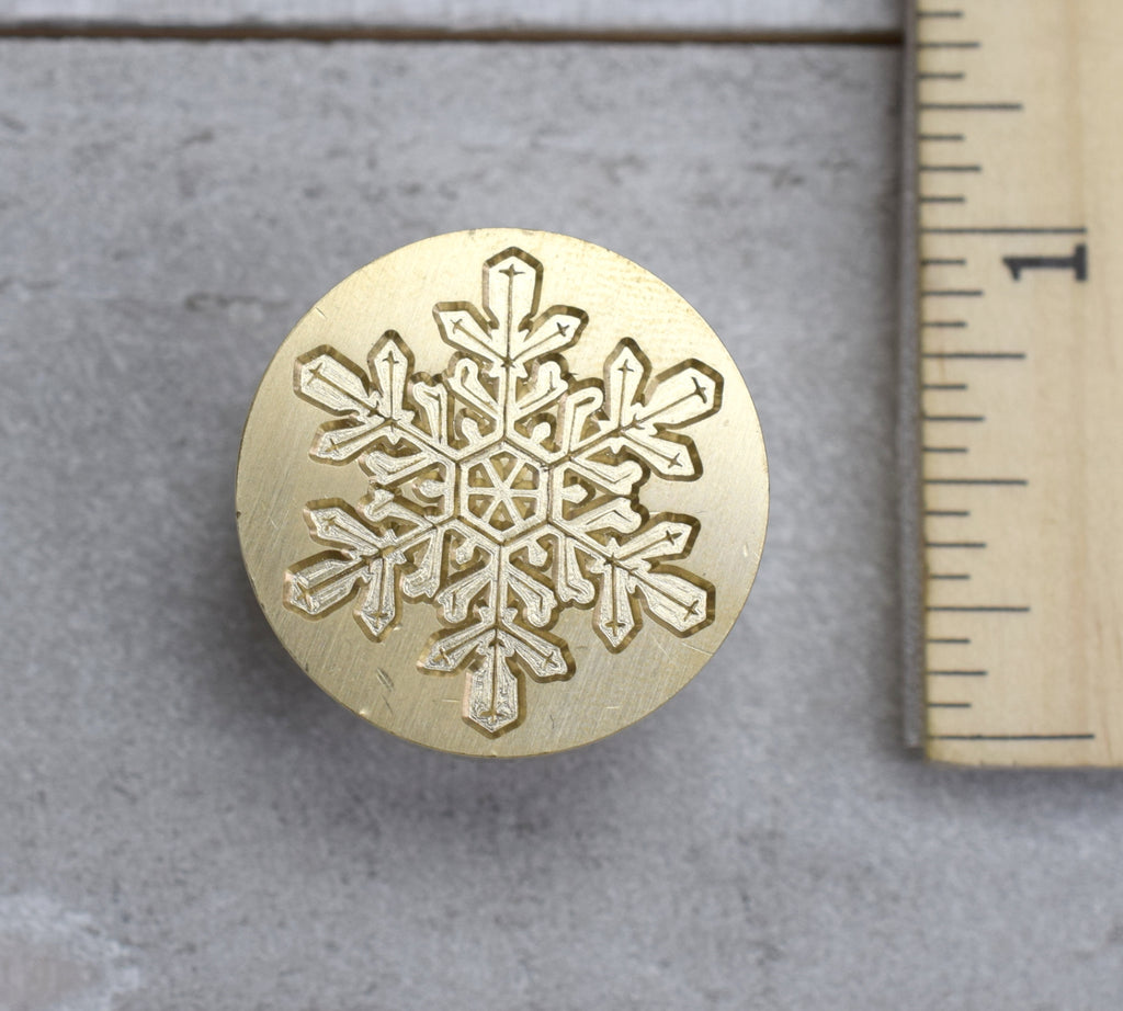 Winter Snowflake on Brass Seal Stamp for Christmas Holiday Cards and Gifts
