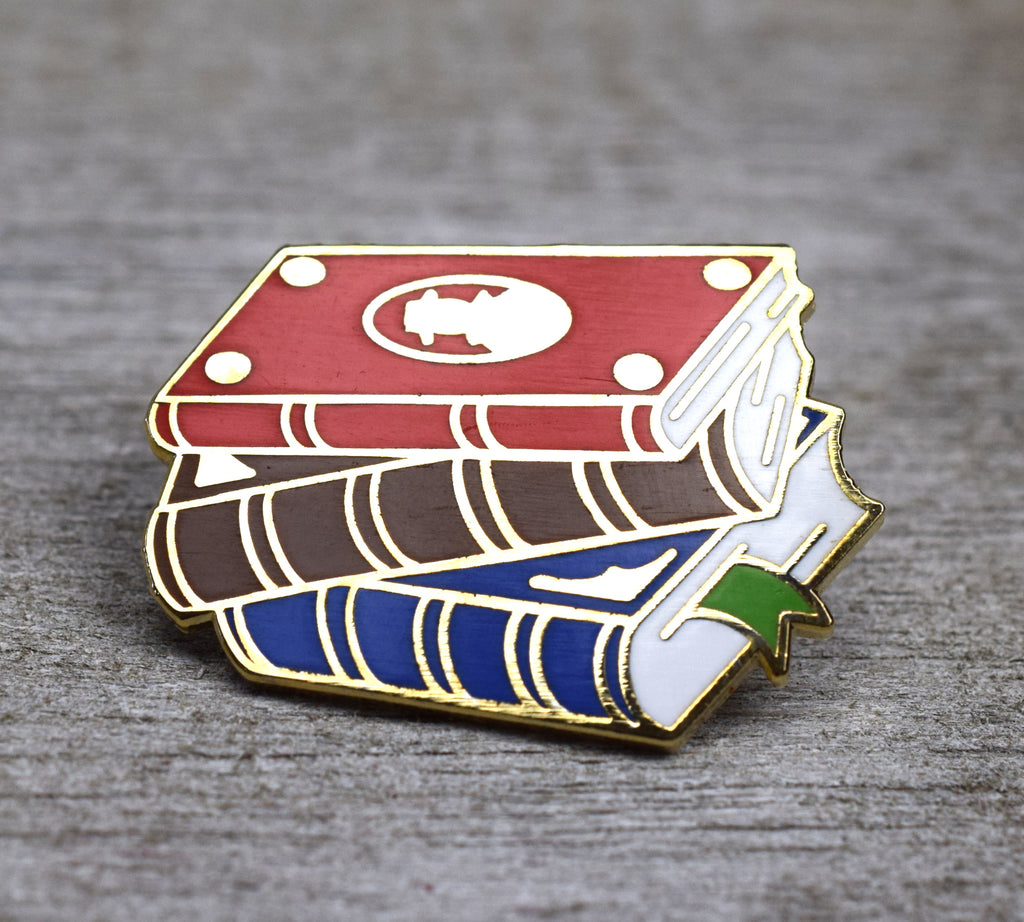 Stack of Leather Books Enamel Pin