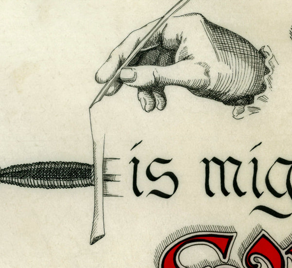 image detail with hand drawing sword crossguard