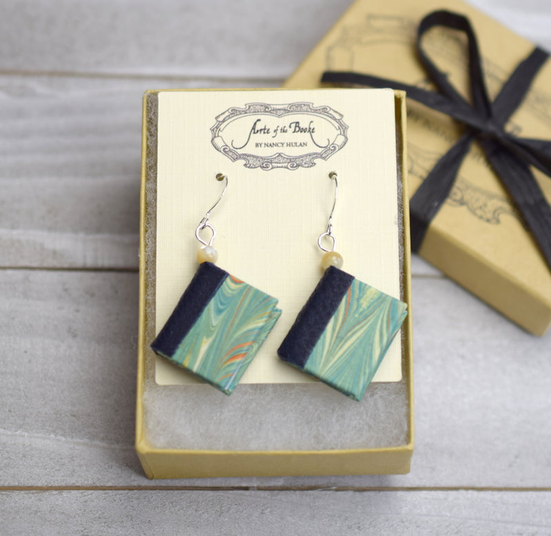 Miniature Book Earrings in Aqua and Teal