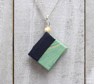 Aqua Blue Miniature Book Necklace