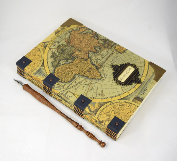 antique map travel journal personalized and dip pen