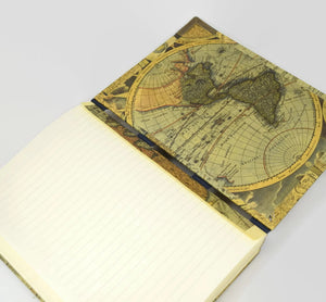 travel journal open flat with antique map section dividers