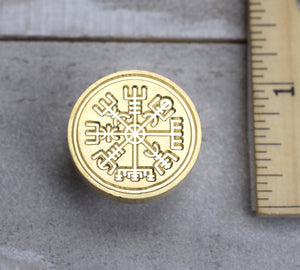 Norse Viking Symbol Brass Seal Stamp with Optional Handle