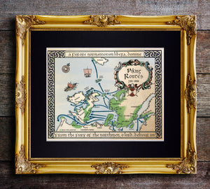 Map of Viking Raids and Settlements Fine Art Print