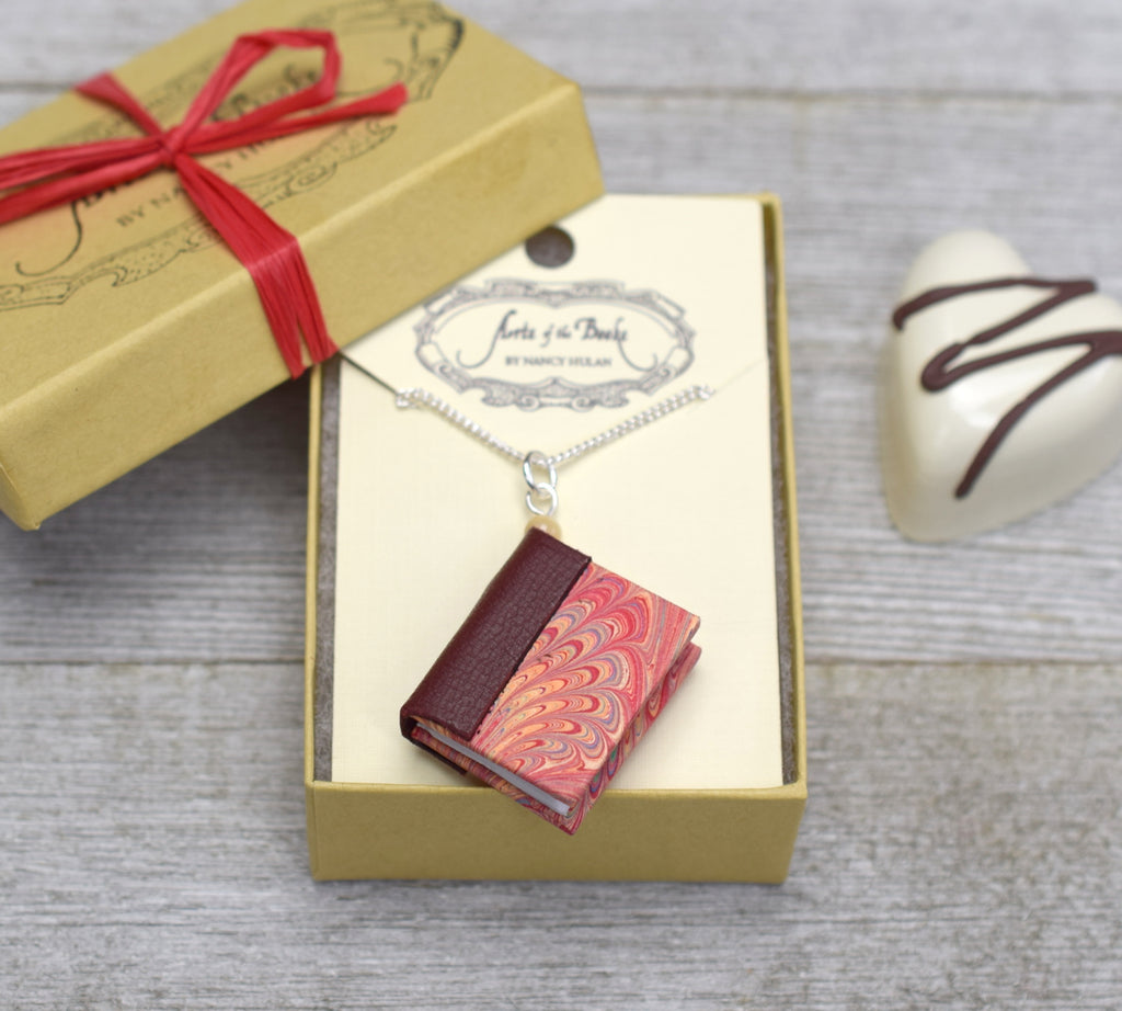 Wine Red Miniature Book Necklace