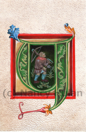 Calligraphy print initial letter Y is for yeoman