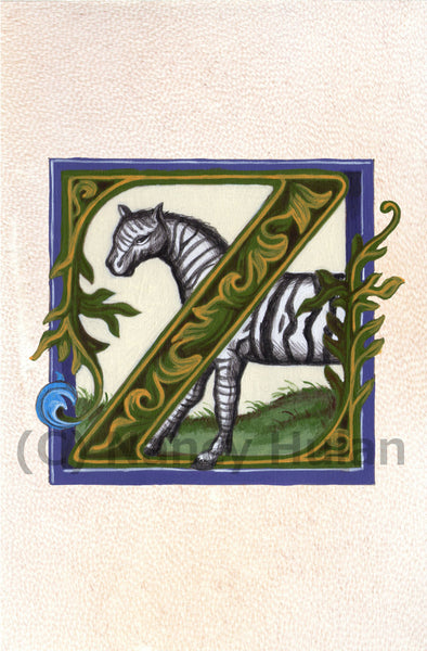 Calligraphy print initial letter Z is for zebra