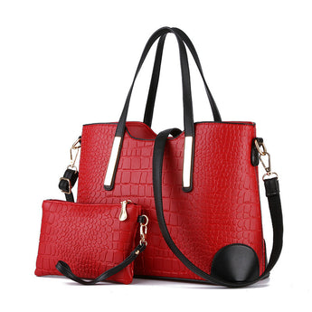 Crocodile Leather Tote Set - Bougie Dame