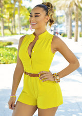 Plus Size Belted Romper Shorts - Bougie Dame