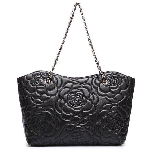 Rose Shoulder Chain Leather Bag - Bougie Dame
