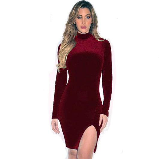 Sexy Slit Bodycon Long Sleeve Evening PartyDress - Bougie Dame