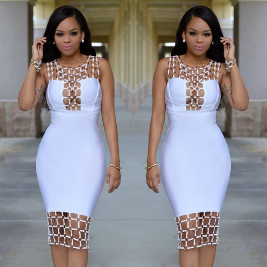 2017 Cage Net Bodycon Dress - Bougie Dame