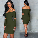 Long Sleeve Cut Out Bodycon Dresses - Bougie Dame