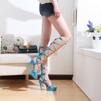 Knee High Lace Up Gladiator Sandal - Bougie Dame