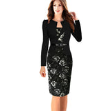 Belted  Floral  Pencil Dress - Bougie Dame