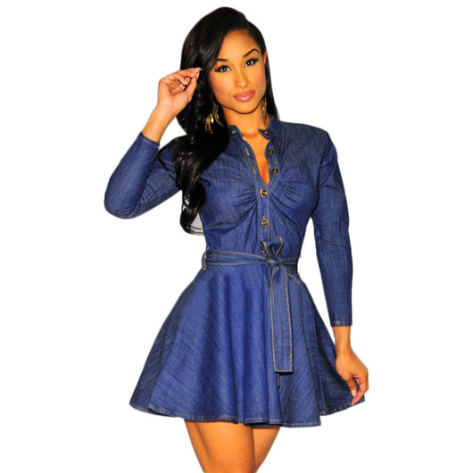 Denim Belted Skater Dress - Bougie Dame