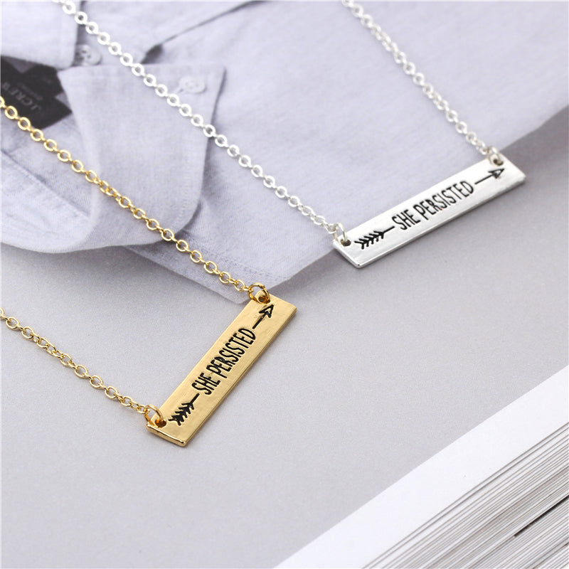 She Persisted Arrow Necklace in Gold/Silver