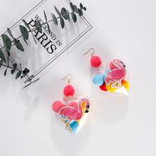 Embroidered Flamingo Heart Sphere Earrings