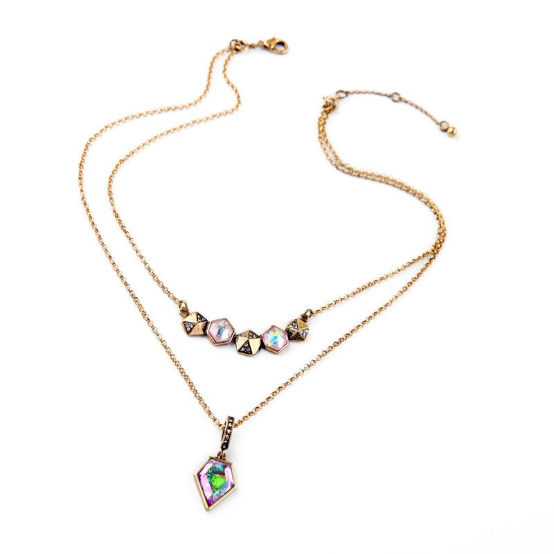 Double Layer Multicolor Gems Necklace