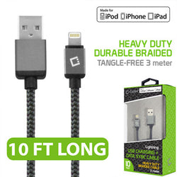 Cellet Lightning 8 Pin (Apple MFI Certified) 10 ft. (3m) Heavy Duty Nylon Braided USB Charging plus Data Sync Cable - Black - Mobile Accessories USA