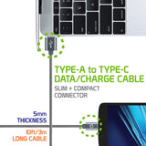 Type-C Cable, Cellet 10ft (3m) Heavy Duty Nylon Braided USB-A to USB-C for HTC 10, LG G5, Nexus 5X/6P, LG V20, Samsung Galaxy Note 7- Gray - Mobile Accessories USA
