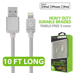 Cellet Lightning 8 Pin (Apple MFI Certified) 10 ft. (3m) Heavy Duty Nylon Braided USB Charging plus Data Sync Cable - Silver - Mobile Accessories USA