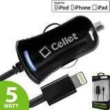 Cellet Black Ultra Compact 5 Watt (1 Amp) Lightning 8 Pin Car Charger for iPhone 5, 5s, 5c, 6, 6 Plus, iPod Touch 5th Gen, iPod Nano 7th Gen (Apple MFI Certified) - Mobile Accessories USA