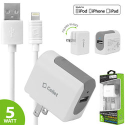Cellet UL Certified 1Amp (5W) Folding Blade Home / Travel USB Wall Charger with 5ft. Apple MFI Certified Lightning 8 Pin to USB Cable - Mobile Accessories USA